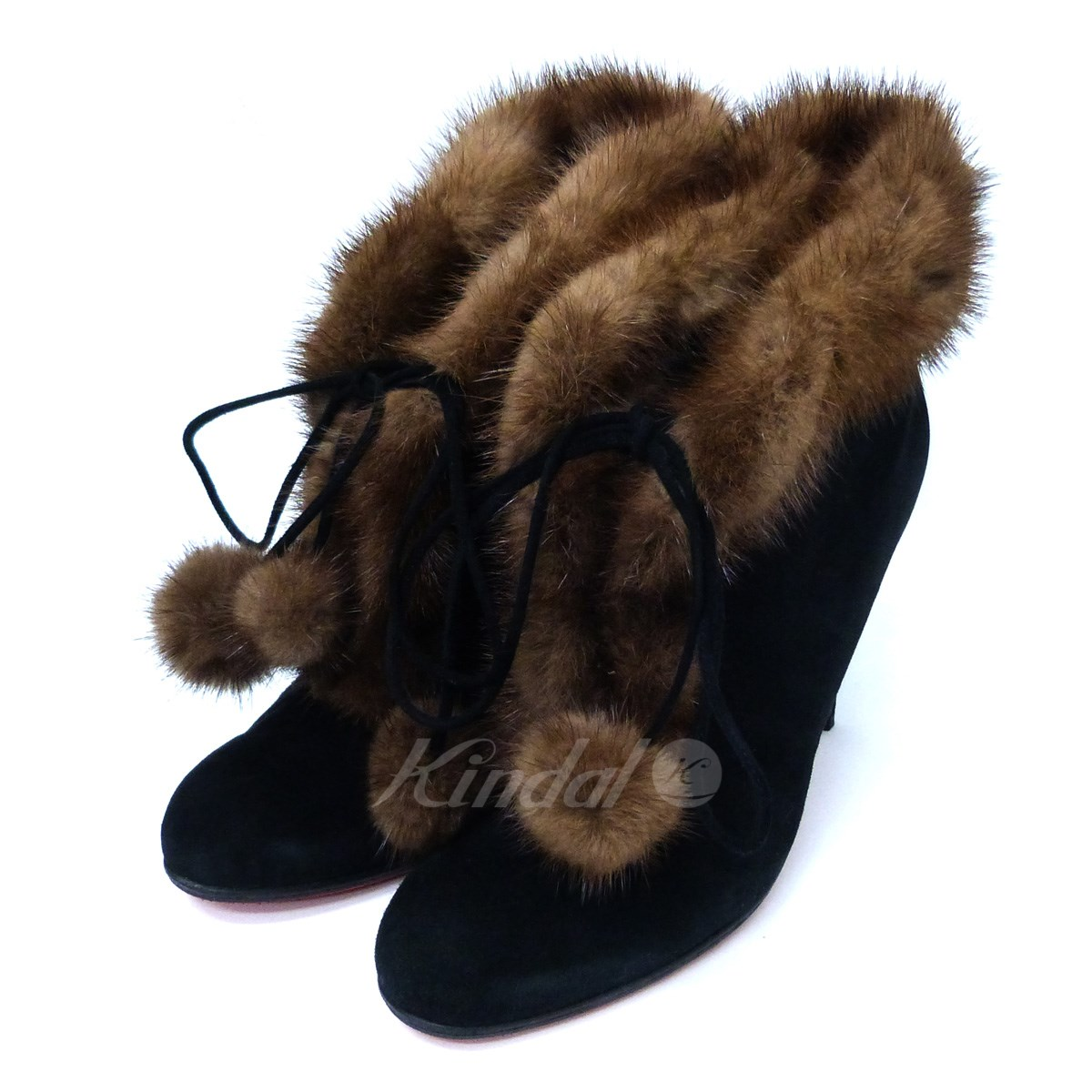 low priced e0665 71290 CHRISTIAN LOUBOUTIN fur design booties boots black size: 39 (クリスチャンルブタン)
