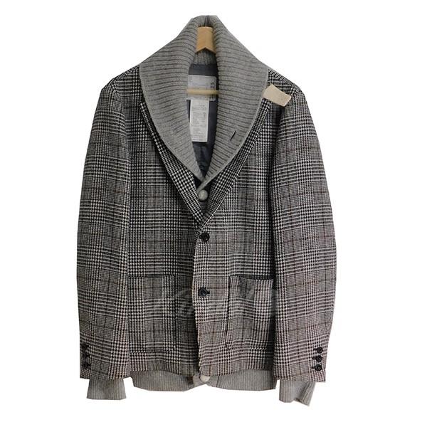 【中古】sacai レイヤードジャケット グレー サイズ:2 【送料無料】 【091218】(サカイ)