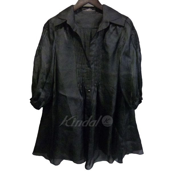 【中古】FOXEY 肩パッド付ピンタックシルクシャツ 【送料無料】 【056061】 【KIND1641】
