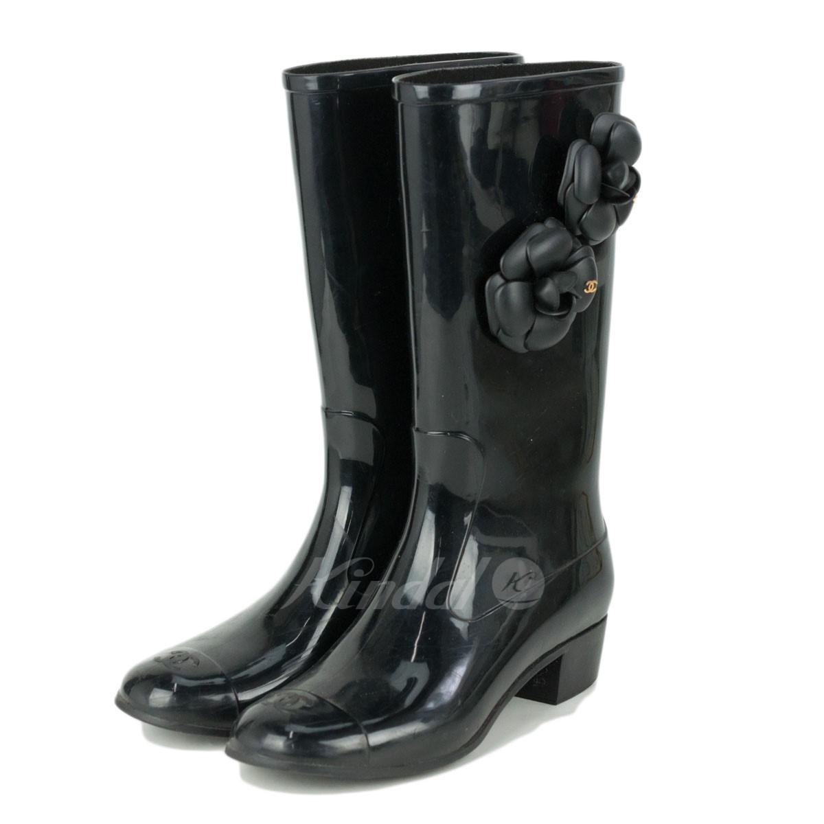 f599af021 kindal: CHANEL camellia rubber boots black size: 38 (Chanel ...