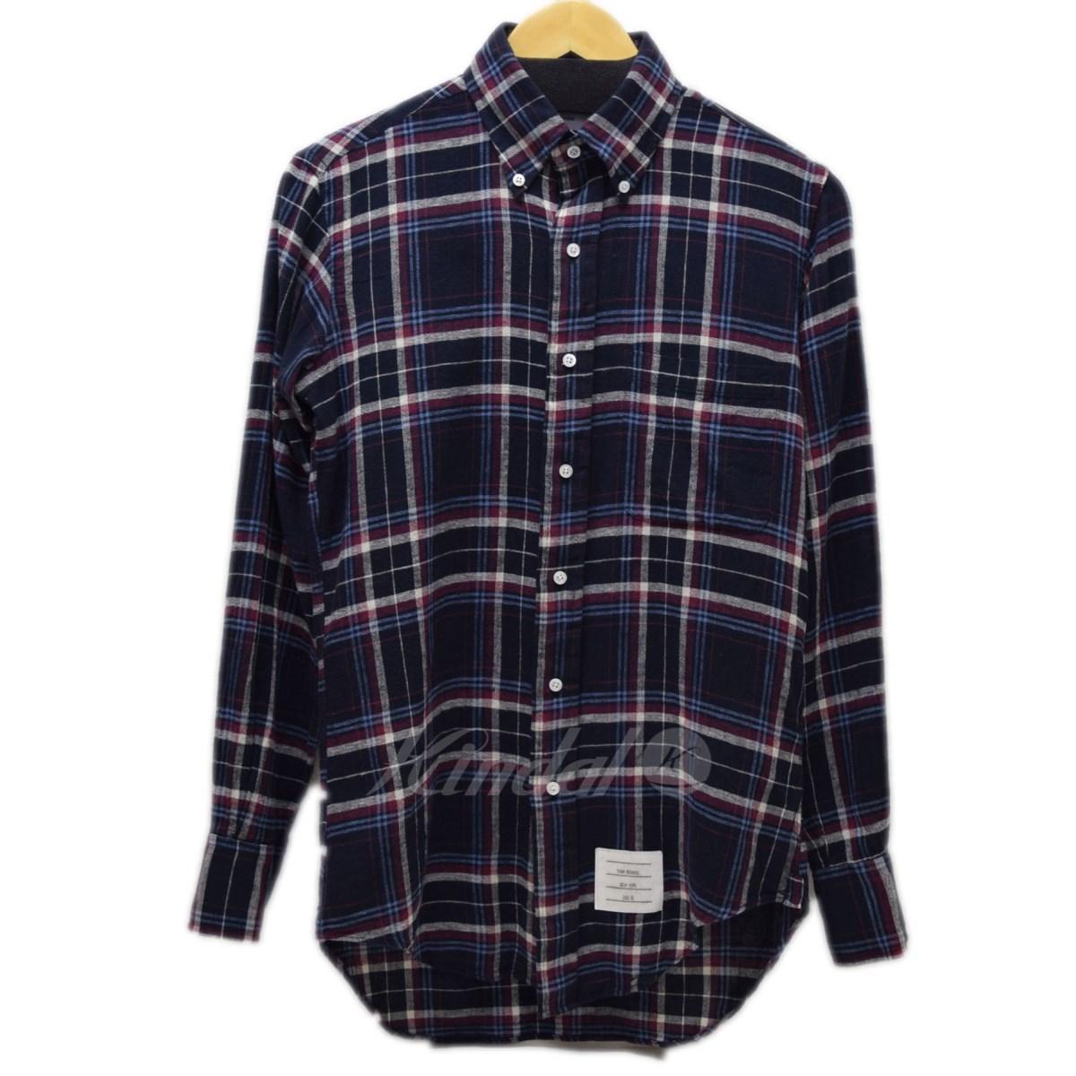 【中古】THOM BROWNE ボタンダウンチェックシャツ 【送料無料】 【008404】 【KIND1641】