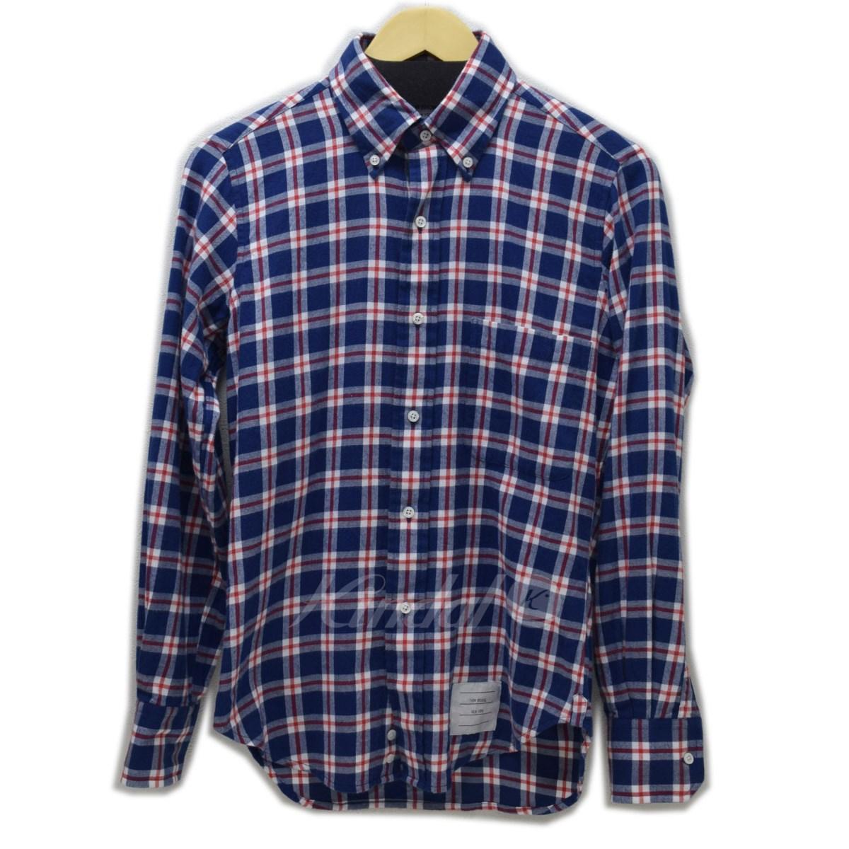 【中古】THOM BROWNE ボタンダウンネルチェックシャツ 【送料無料】 【008411】 【KIND1641】