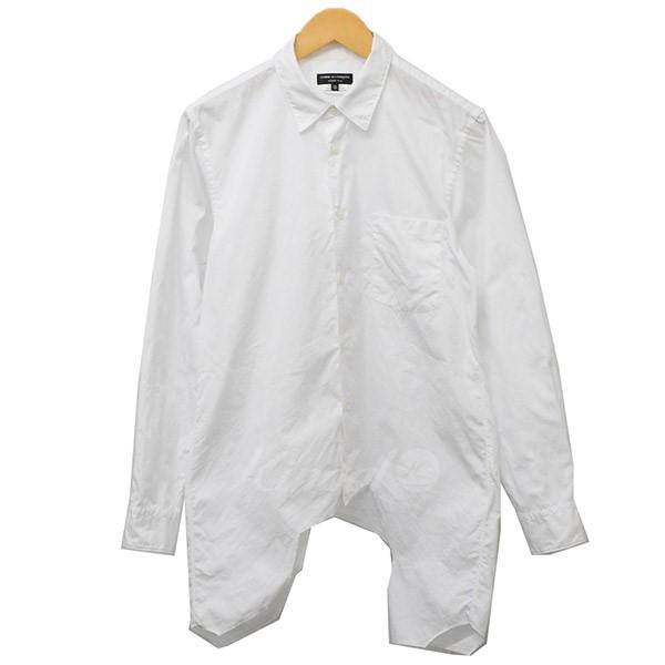 【4月1日 お値段見直しました】【中古】COMME des GARCONS HOMME PLUS2015AW 裁断 デザインシャツ シャツ ホワイト サイズ:XS