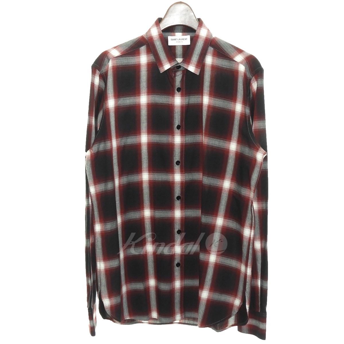 【中古】SAINT LAURENT PARIS オンブレチェックシャツ 【送料無料】 【166538】 【KIND1551】