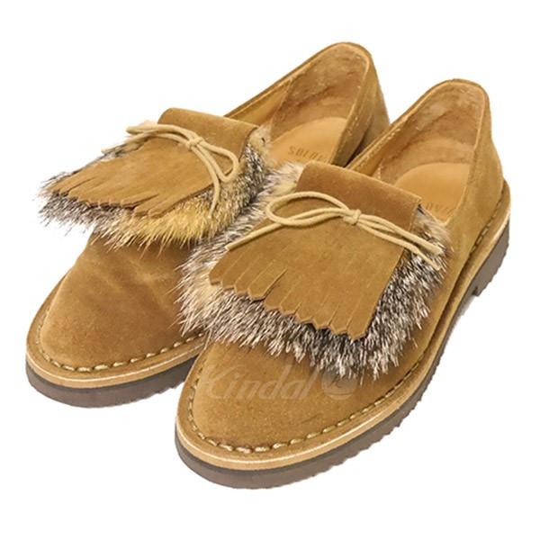 【中古】SOLOVIERE キルト付き スエード シューズ 靴 【送料無料】 【012594】 【KIND1551】