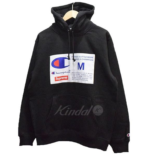 【中古】SUPREME×champion 18AW Label Hooded Sweatshirt パーカー 【送料無料】 【009738】 【KIND1551】
