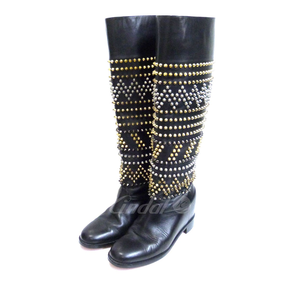 separation shoes f32da 4f294 CHRISTIAN LOUBOUTIN spikes studs long leather boots black size: 37