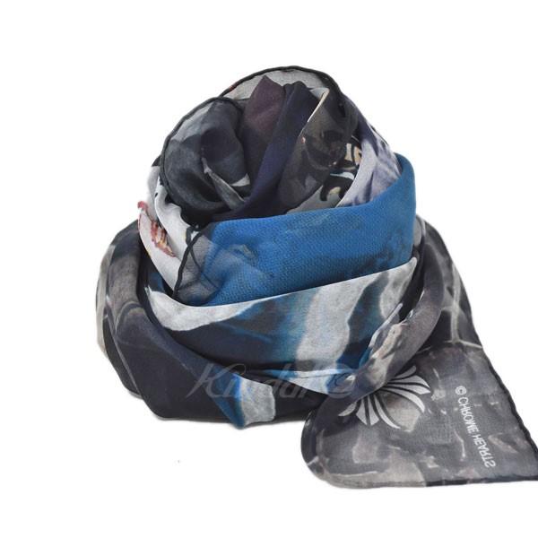 【中古】CHROME HEARTS×THE ROLLING STONESシルク100% スカーフ ブラック×ブルー