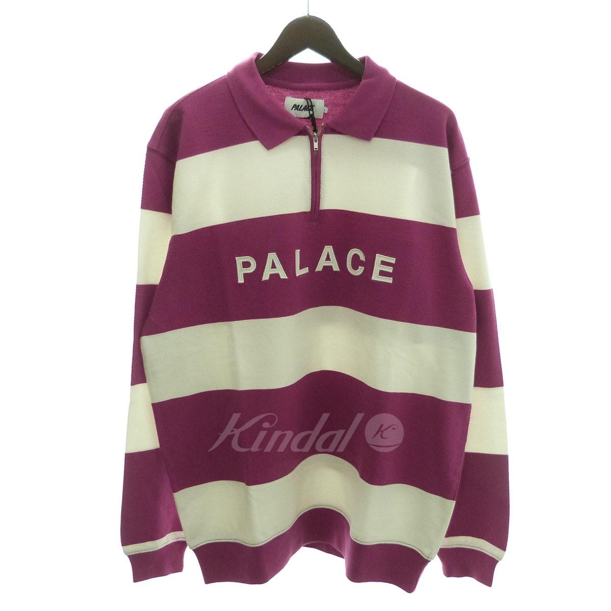 【中古】PALACE 「J STRIPE CREW」ストライプハーフZIPポロシャツ ダークピンク×ホワイト サイズ:L 【送料無料】 【040119】(パレス)