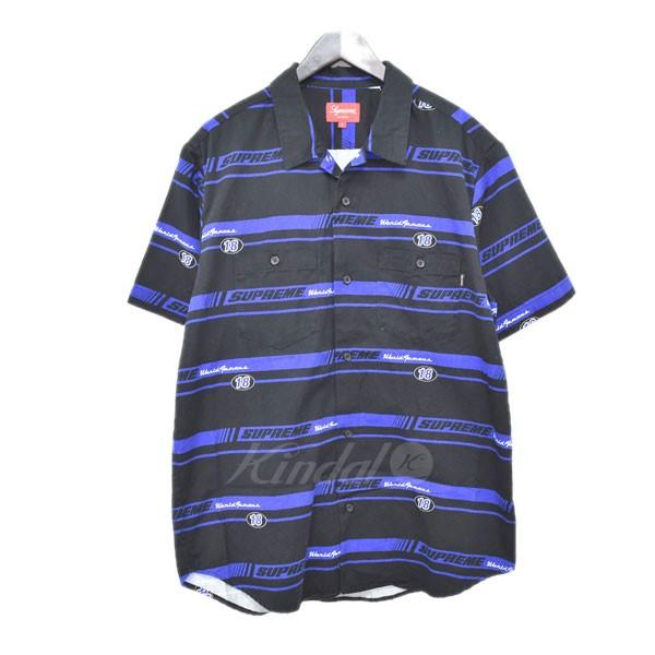 【中古】SUPREME 18AW Striped Racing Work Shirt 半袖シャツ 【送料無料】 【309984】 【KIND1641】