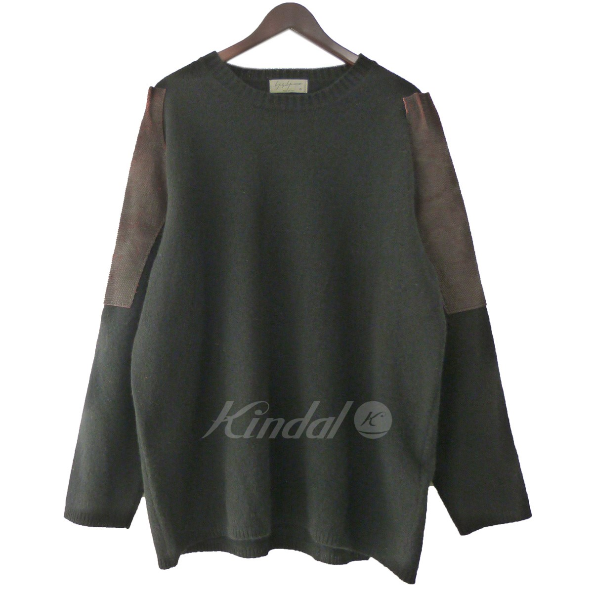 【中古】YOHJI YAMAMOTO pour homme 18AW レザーパッチクルーネックニットセーター 【送料無料】 【173278】 【KIND1641】