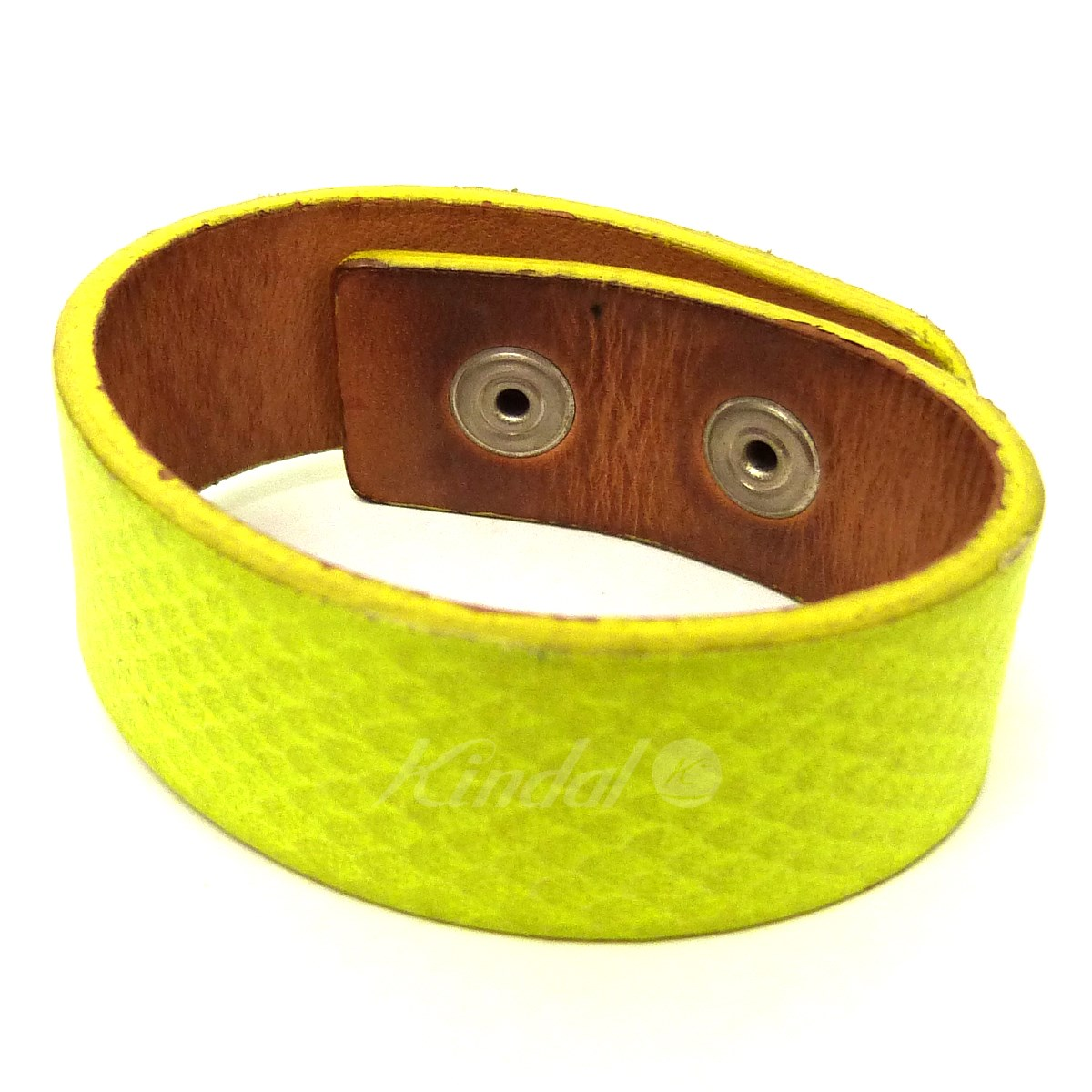 Under Cover Leather Bracelet Neon Yellow Size