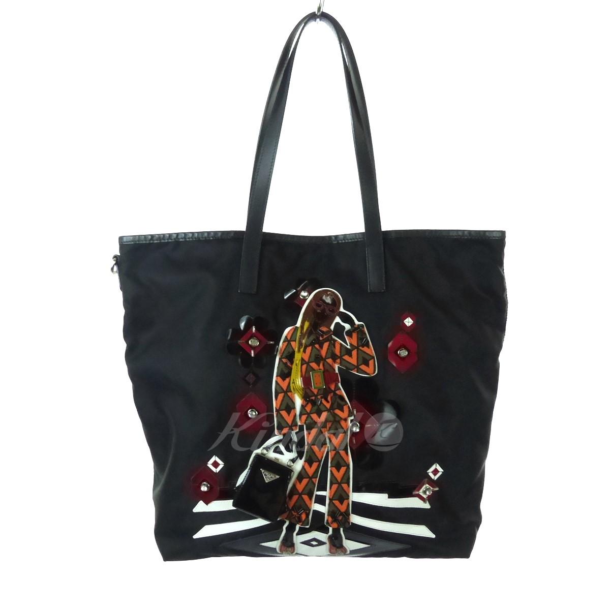 【中古】PRADA 装飾トートバッグ ブラック サイズ:- 【送料無料】 【310119】(プラダ)