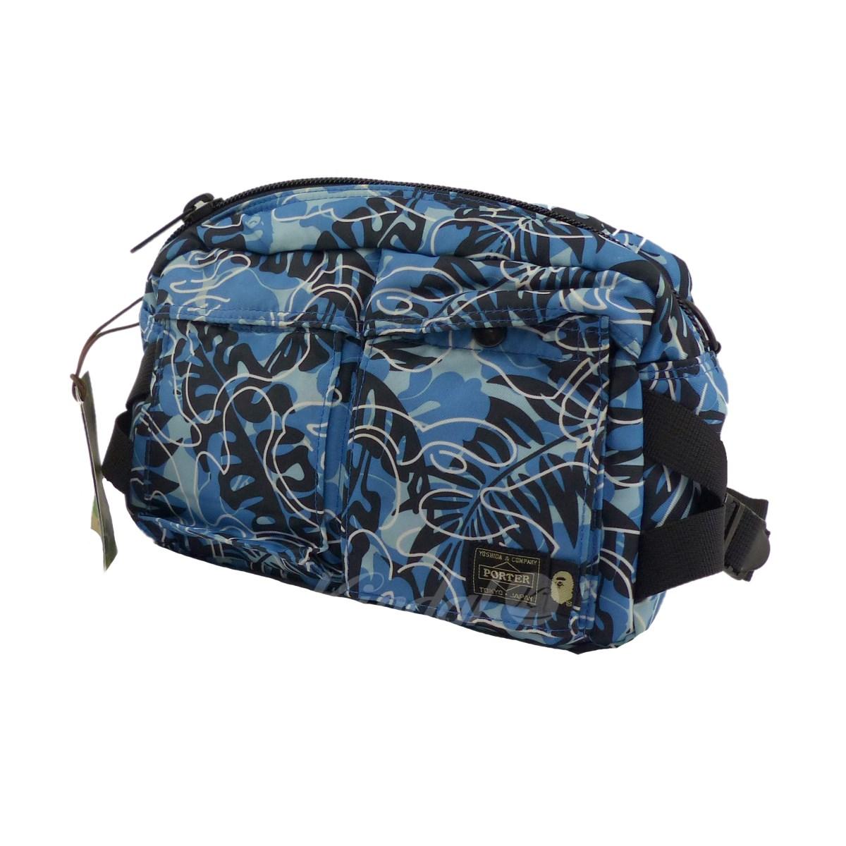 【中古】A BATHING APE x PORTER TROPICAL CAMO WAIST BAG ショルダーバッグ ブルー×ブラック 【送料無料】 【030219】(アベイシングエイプ)