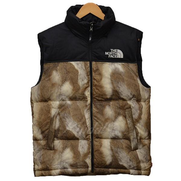 【中古】Supreme×THE NORTH FACE 2013AW Fur Print Nuptse Vest ファープリント ダウンベスト ベージュ サイズ:S 【送料無料】 【040219】(シュプリーム×ノースフェイス)