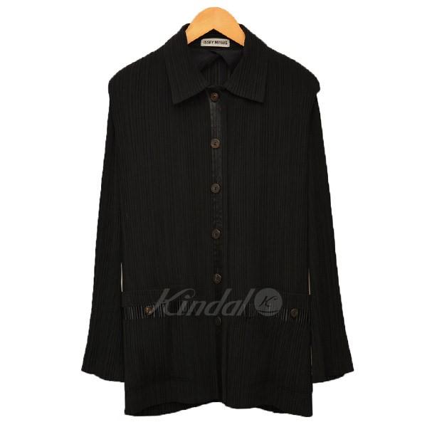 【3月14日 お値段見直しました】【中古】ISSEY MIYAKEプリーツ シャツジャケット ブルゾン ブラック サイズ:M 【送料無料】