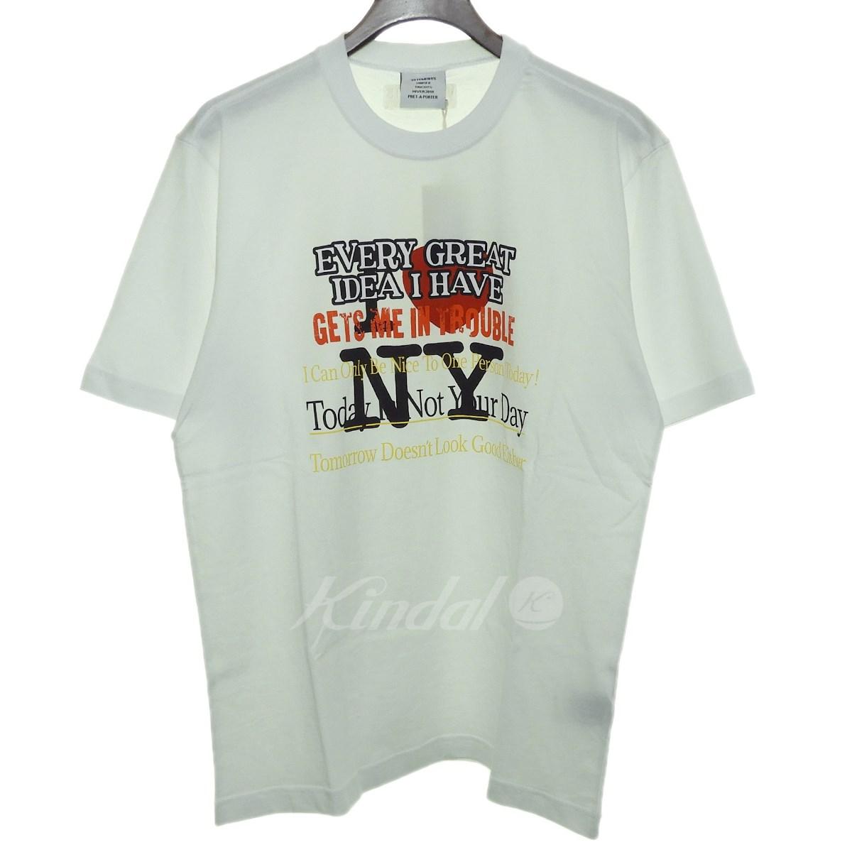 【3月18日 お値段見直しました】【中古】VETEMENTS18AW「Tourist New York T-Shirt」ニューヨークTシャツ ホワイト サイズ:S 【送料無料】