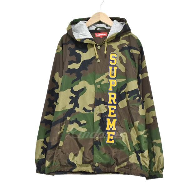 中古 Supreme 17SS 正規店 Ertical Logo Hooded Coaches シュプリーム カーキ Jacket サイズ:S 100219 引出物 コーチジャケット 送料無料