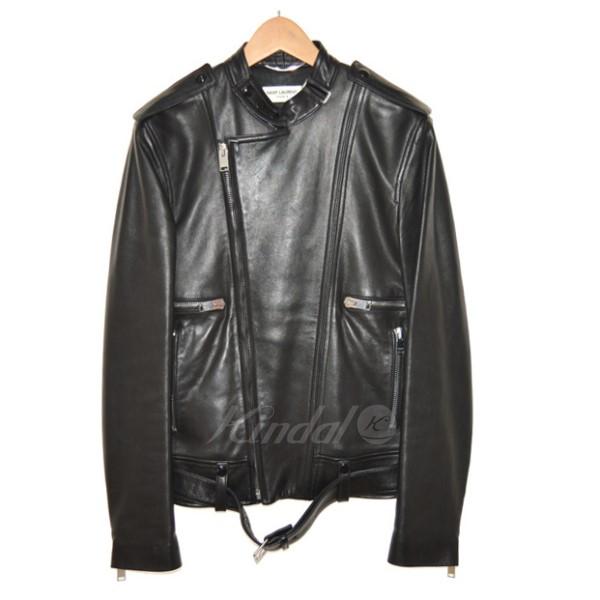 【4月8日 お値段見直しました】【中古】SAINT LAURENT PARIS13SS ダブルライダースレザージャケット ブラック サイズ:46