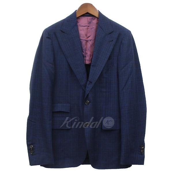 【中古】GABRIELE PASINI 3ピース チェック 3B テーラードジャケット セットアップ スーツ 【送料無料】 【013746】 【SC1643】