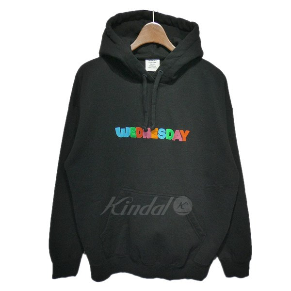 【中古】VETEMENTS2018AW「Weekday Fitted Hoodie」WEDNESDAYプリントパーカー ブラック サイズ:S