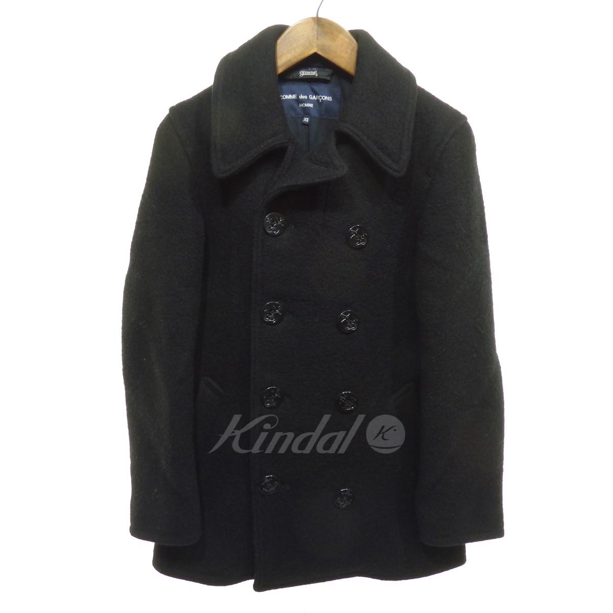【中古】COMME des GARCONS HOMME ×GLOVAL ALL Pコート ブラック サイズ:XS 【120219】(コムデギャルソンオム)