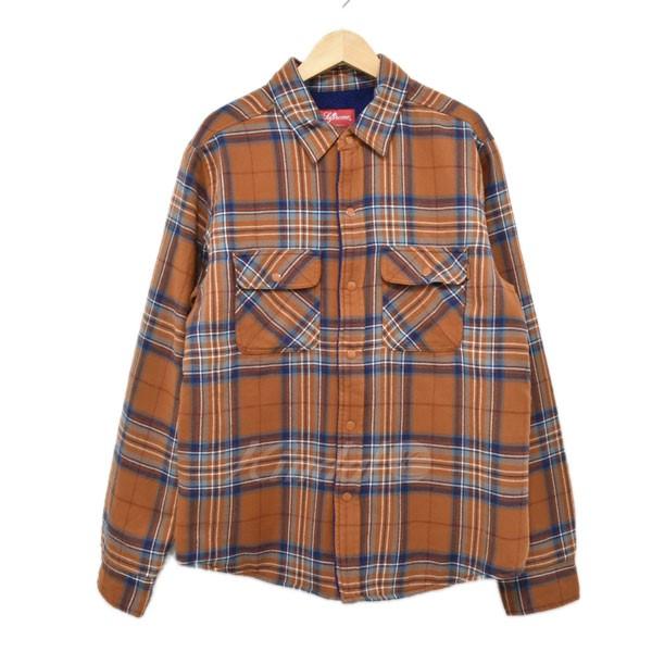 【中古】SUPREME 18AW Pile Lined Plaid Flannel Shirt シャツ ブラウン サイズ:S 【140219】(シュプリーム)