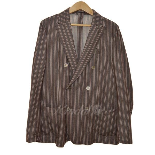 【中古】LARDINI ストライプダブルブレストジャケット ブラウン サイズ:50 【送料無料】 【140219】(ラルディーニ)
