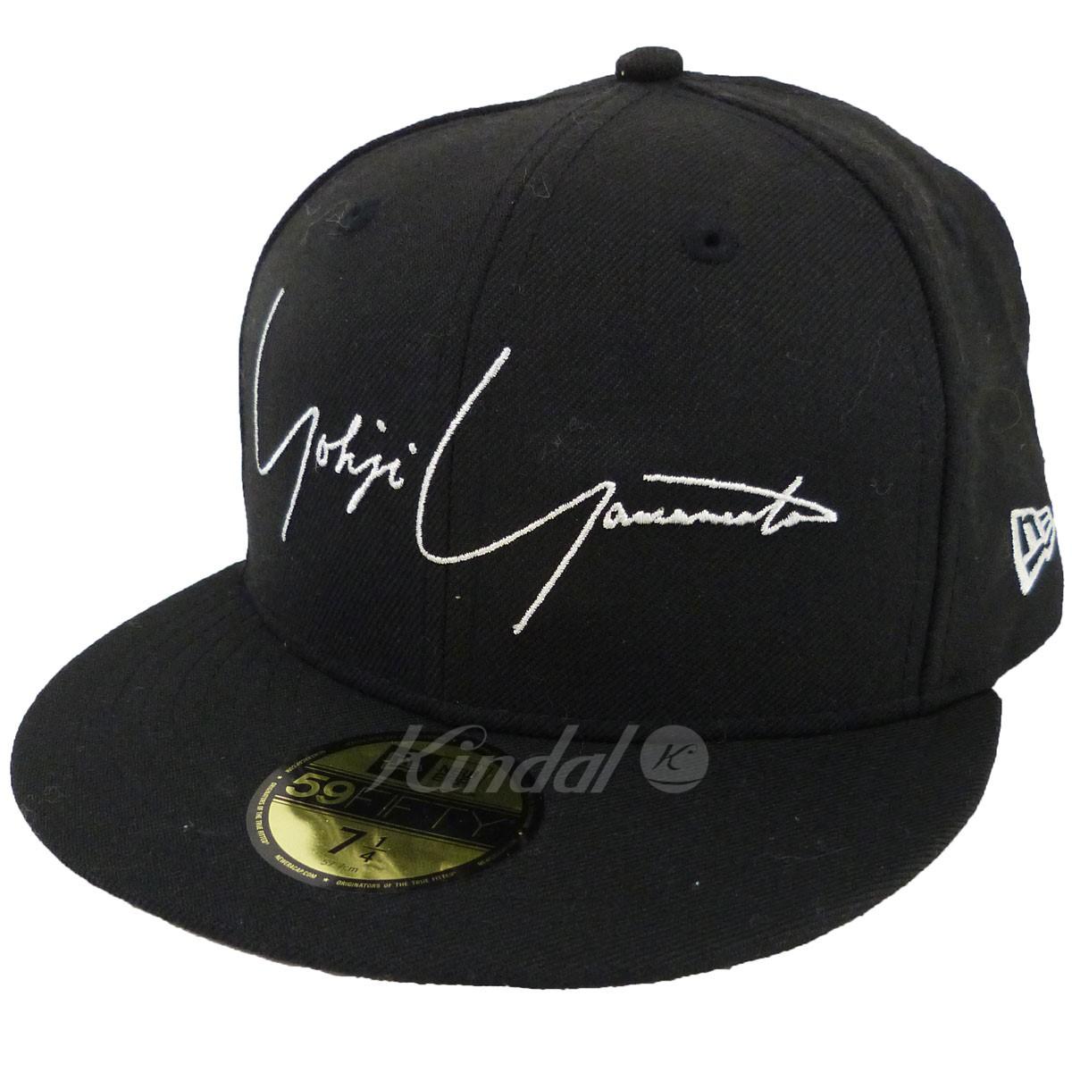 【中古】YOHJI YAMAMOTO pour homme×NEW ERA ロゴ刺繍ベースボールキャップ ブラック サイズ:7 1/4 【送料無料】 【170219】(ヨウジヤマモトプールオム ニューエラ)