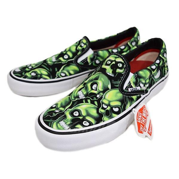2928c770662916 Supreme X VANS SKULL PILE Slip-On Pro scull slip-ons sneakers black X green  size  US 9 (シュプリーム X vans)