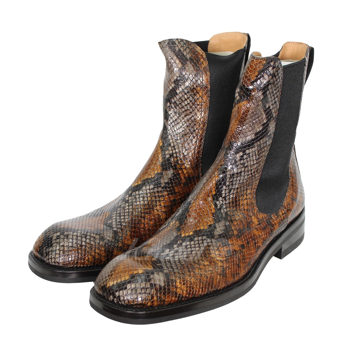 cedf91ddc19 DRIES VAN NOTEN Square Toe Chelsea Boot python leather side Gore boots  brown size: 44 (ドリスヴァンノッテン)