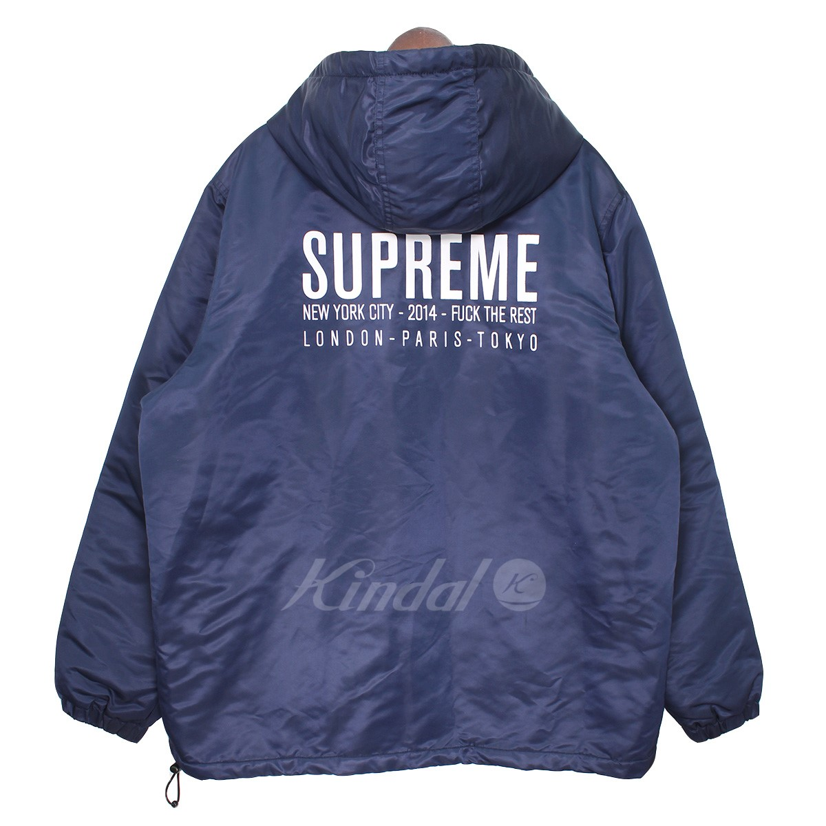 【中古】SUPREME 14AW Satin Twill Pullover バックロゴアノラックジャケット ネイビー サイズ:XL 【250219】(シュプリーム)
