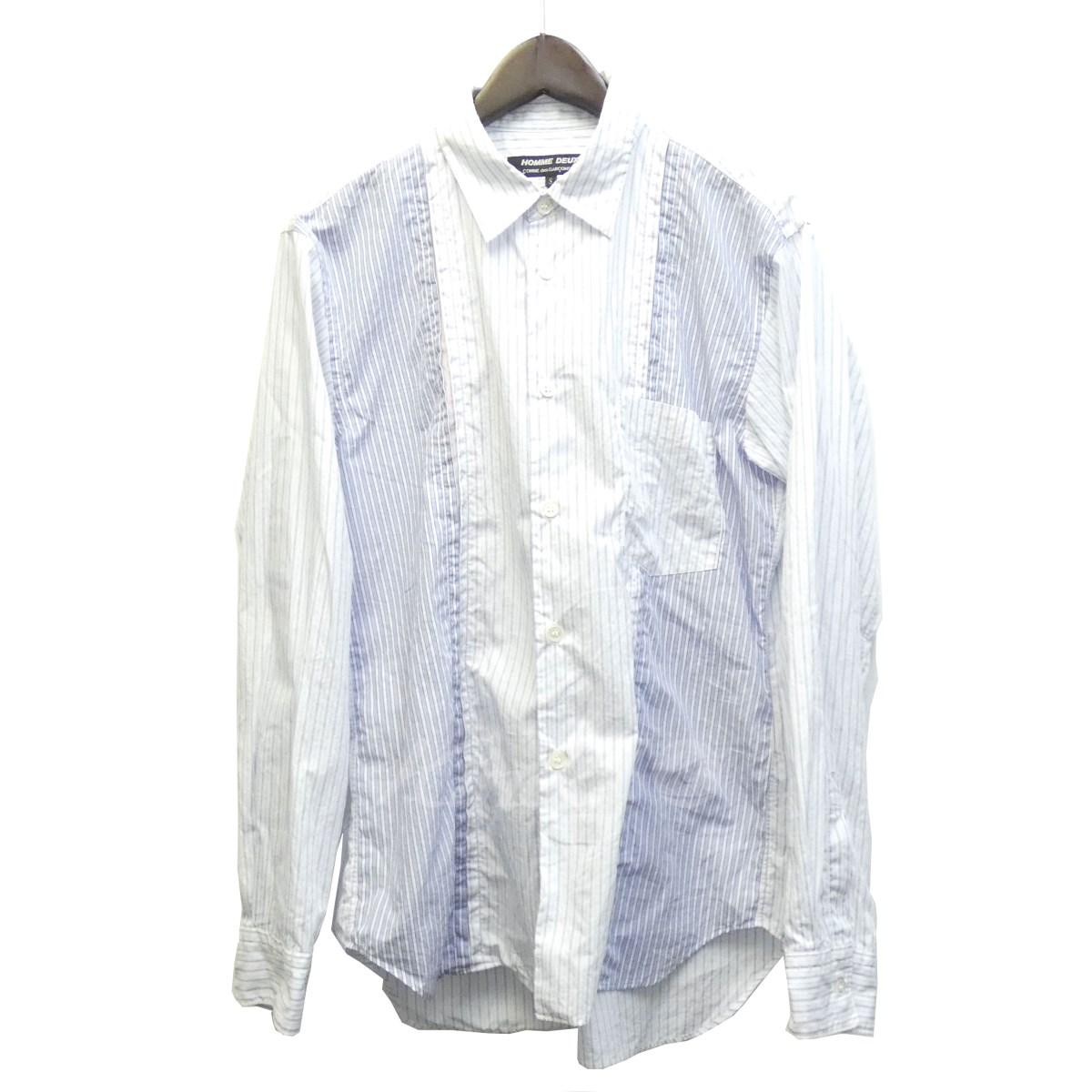 【中古】COMME des GARCONS HOMME DEUX 18SS ストライプ切替シャツ サックスブルー サイズ:S 【送料無料】 【270219】(コムデギャルソンオムドゥ)