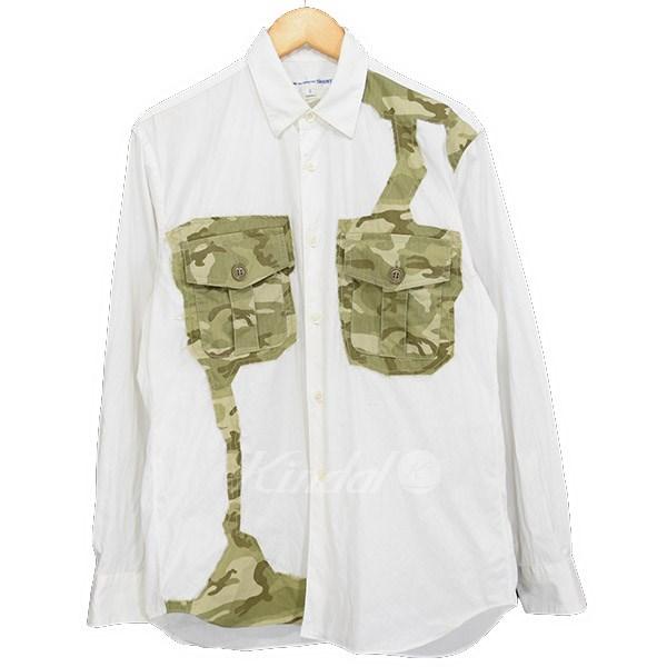 【中古】COMME des GARCONS SHIRT 迷彩パッチワークシャツ 2017SS ホワイト×カーキ サイズ:XS 【送料無料】 【270219】(コムデギャルソンシャツ)
