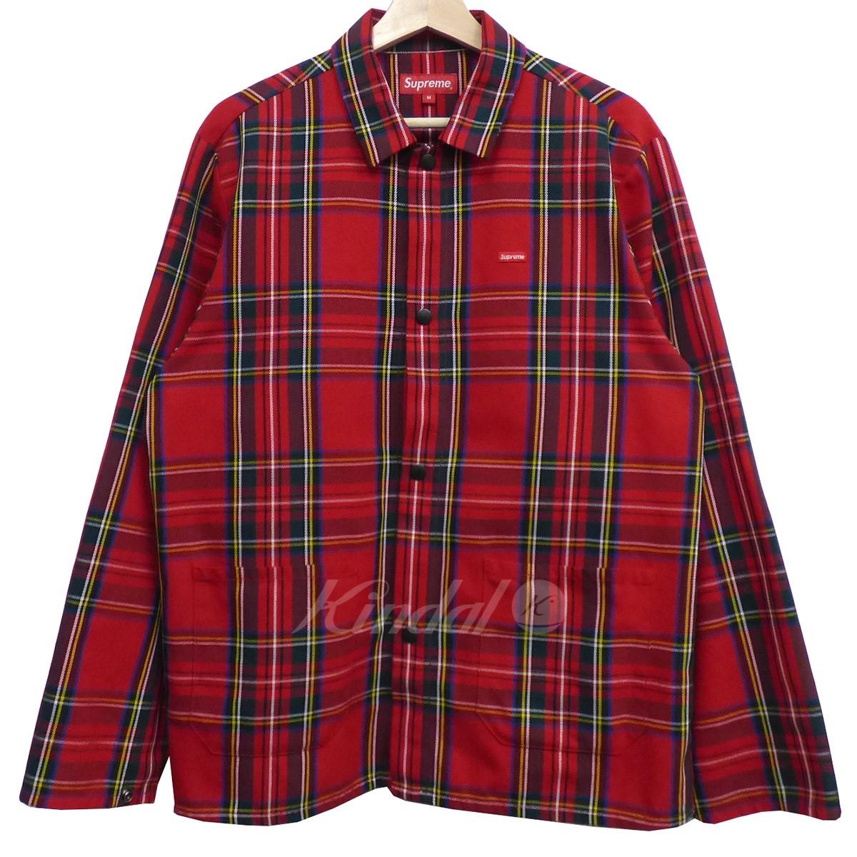 中古 SUPREME 17AW Shop Jacket Royal 送料無料 サイズ:M 270219 お気に入 シュプリーム 2020A/W新作送料無料 レッド Stewartチェックショップジャケット