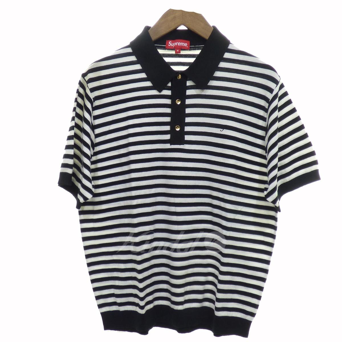 8aebb7af0e SUPREME Striped Knit Polo white X black size: M (シュプリーム) ...