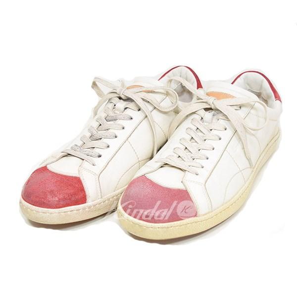 【中古】SANTONI ローカット スニーカー ホワイト×レッド サイズ:9 【送料無料】 【280219】(サントーニ)