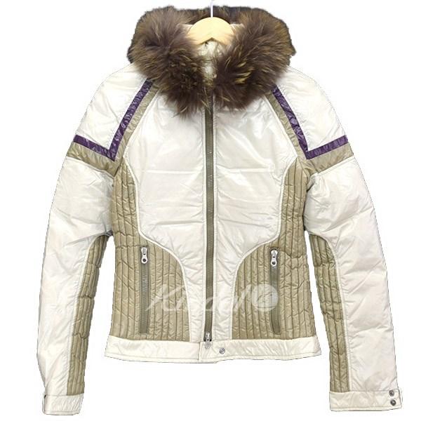 【中古】DUVETICA ファー デザイン ダウン ジャケット ベージュ×パープル サイズ:42 【280219】(デュベティカ)