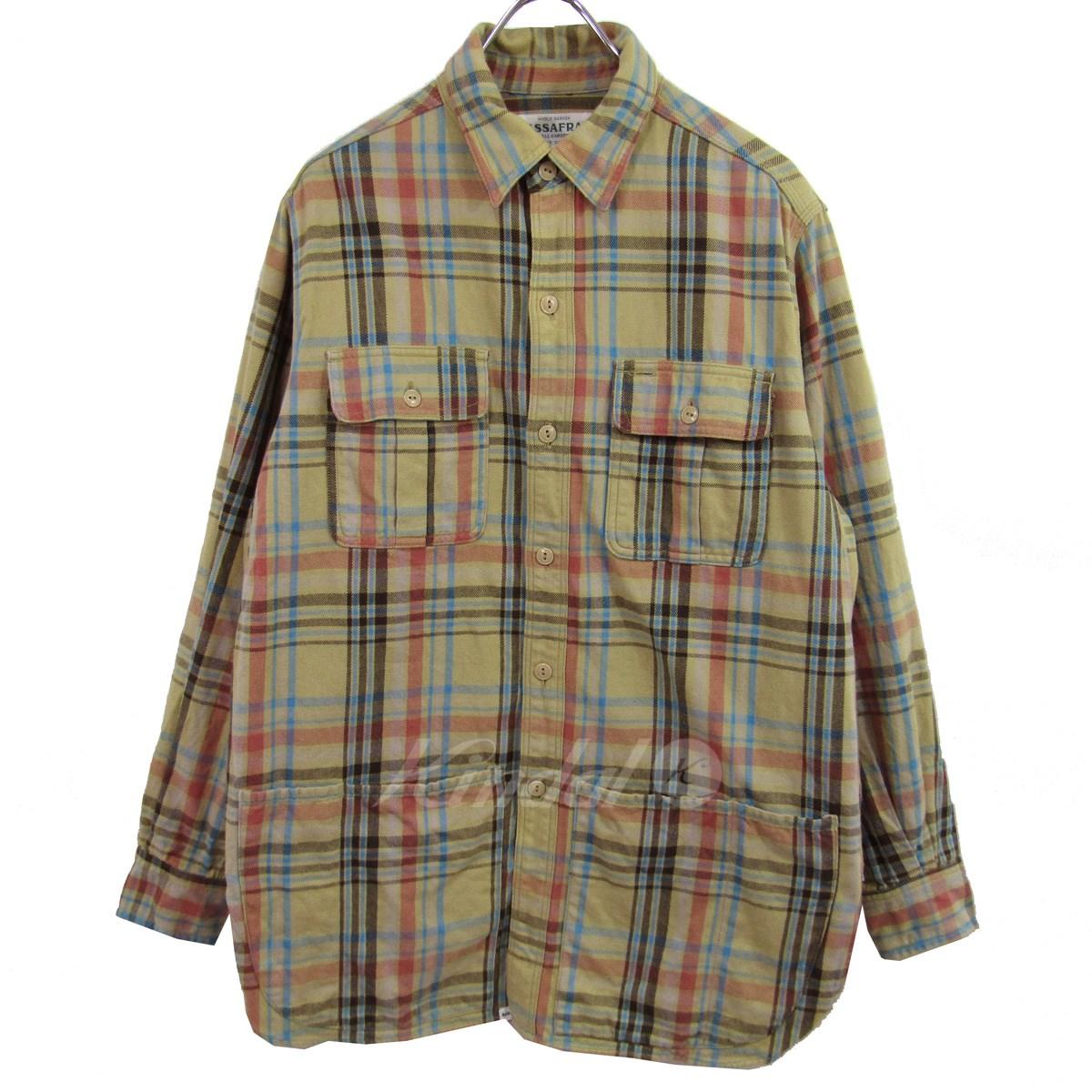 【中古】SASSAFRAS BOTANICAL SCOUT APRON SHIRT 長袖チェックシャツ ベージュ サイズ:S 【280219】(ササフラス)