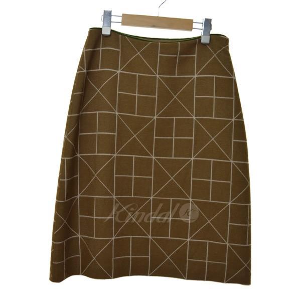 【中古】mina perhonen 17AW hay field 幾何学模様スカート ブラウン サイズ:38 【送料無料】 【010319】(ミナペルホネン)