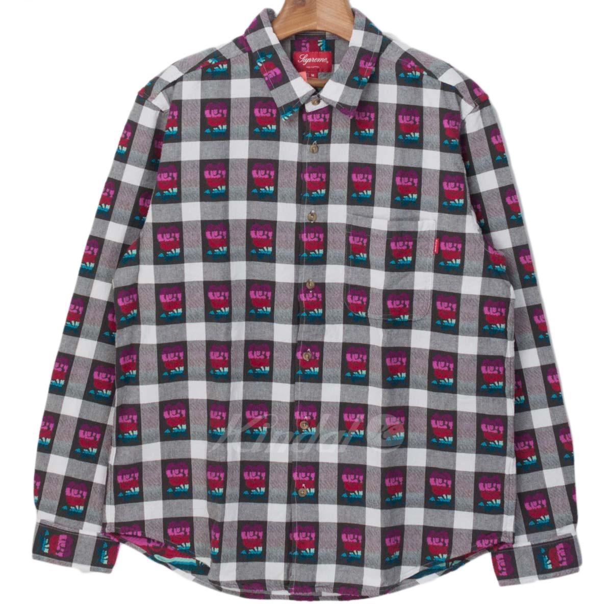 【中古】SUPREME 2019SS Rose Buffalo Plaid Shirt ブラック/ホワイト/レッド サイズ:M 【送料無料】 【020319】(シュプリーム)