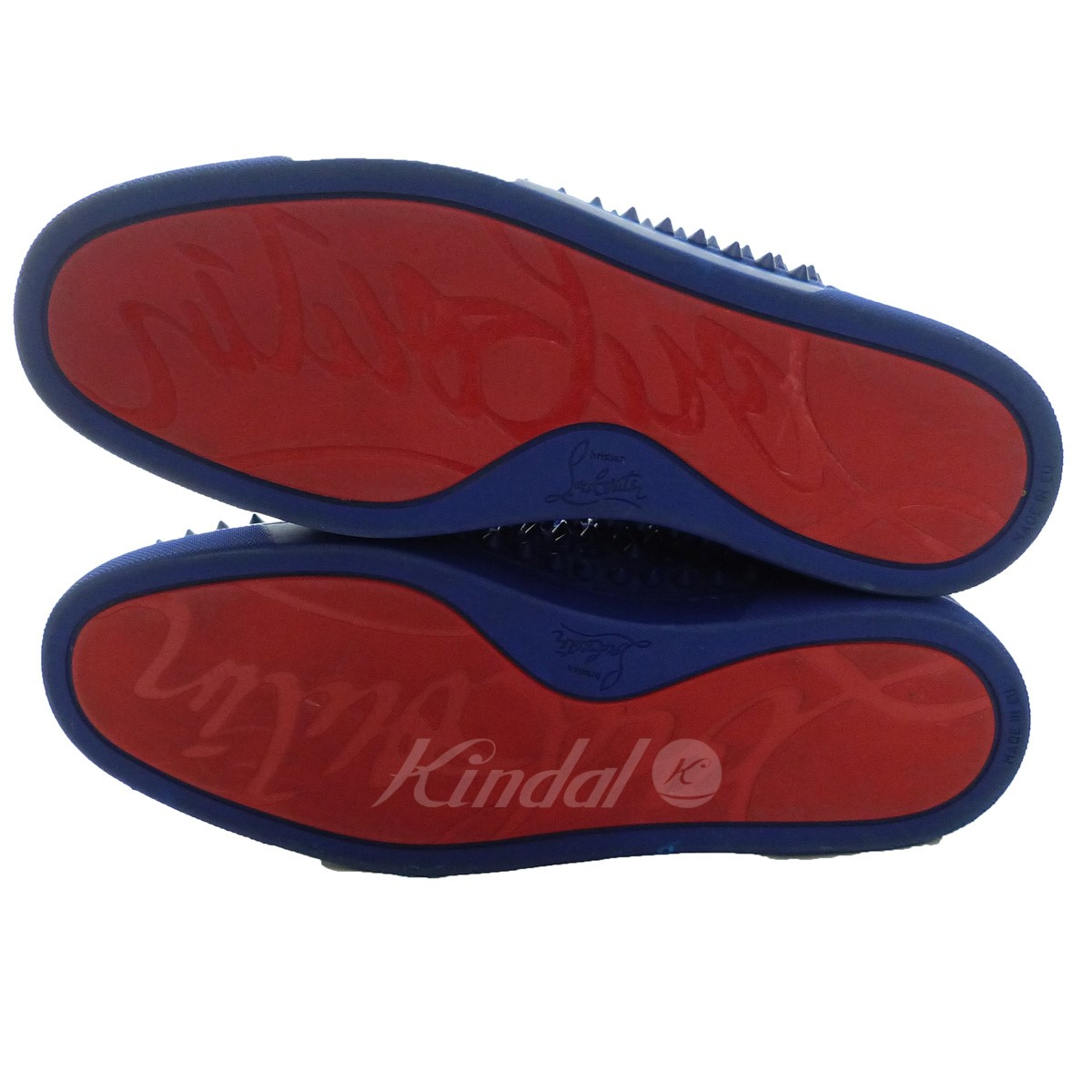 Christian Louboutin 17ss Louis Spikes Mens Flat Higher Frequency Elimination Sneakers Blue Size 43 クリスチャンルブタン