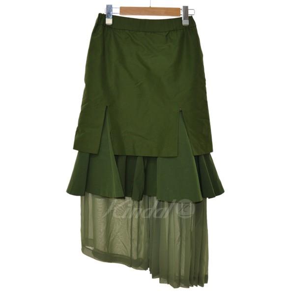 【中古】UN3D 18SS MIX LAYERED SK ミックスレイヤードスカート オリーブ サイズ:36 【送料無料】 【060319】(アンスリード)
