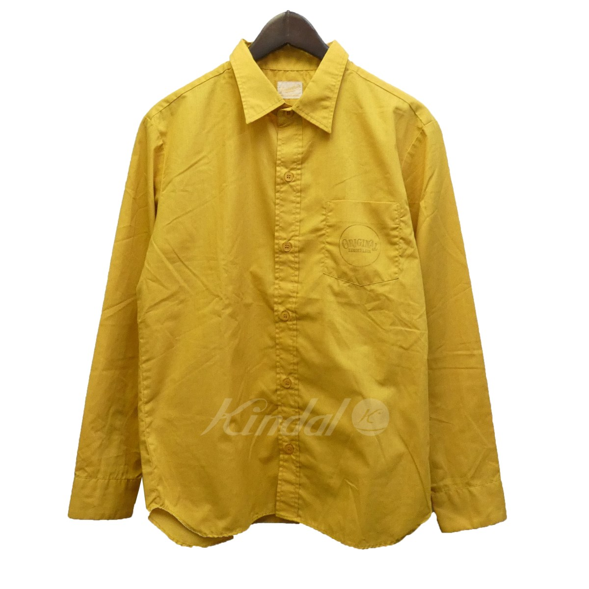 【中古】TENDERLOIN 「T-G.S SHT」 サークルロゴプリントワークシャツ ゴールド サイズ:XS 【050319】(テンダーロイン)