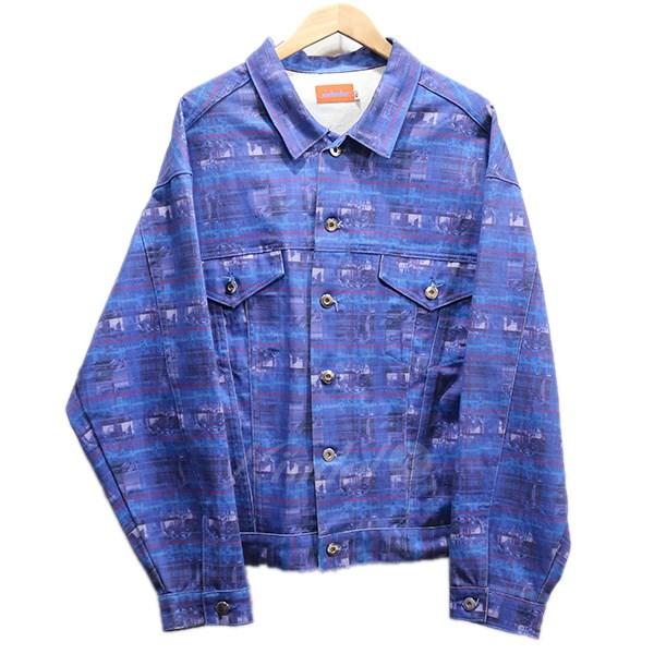 【5月20日 お値段見直しました】【中古】MINDSEEKE17AW 総柄デニムジャケット ブルー サイズ:XL