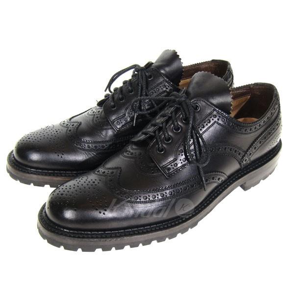 【中古】foot the coacher Wチップレザーシューズ ブラック サイズ:9 【送料無料】 【080319】(フットザコーチャー)