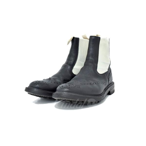 【中古】TRICKER'S サイドゴアブーツ ブラック×ホワイト サイズ:9 【送料無料】 【090319】(トリッカーズ)