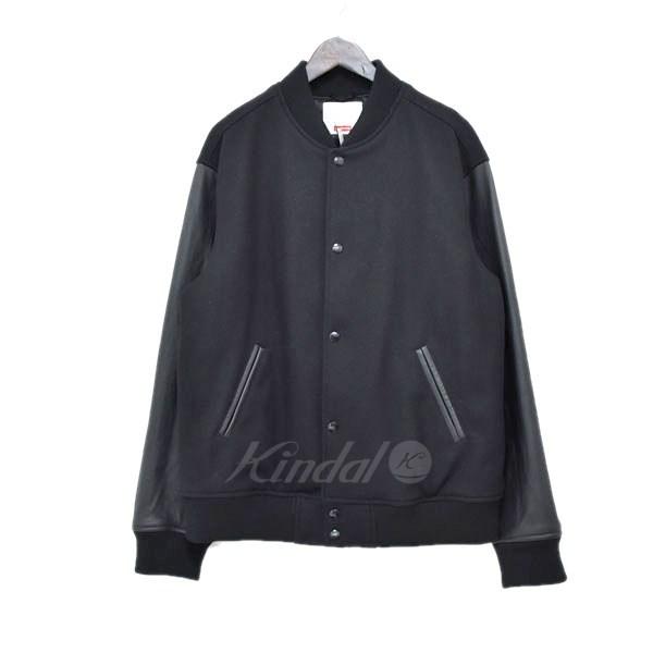 中古 SUPREME 18AW Motion Logo 全国どこでも送料無料 Varsity Jacket 110319 サイズ:L 最新号掲載アイテム スタジャン ブラック 送料無料 モーションロゴ シュプリーム