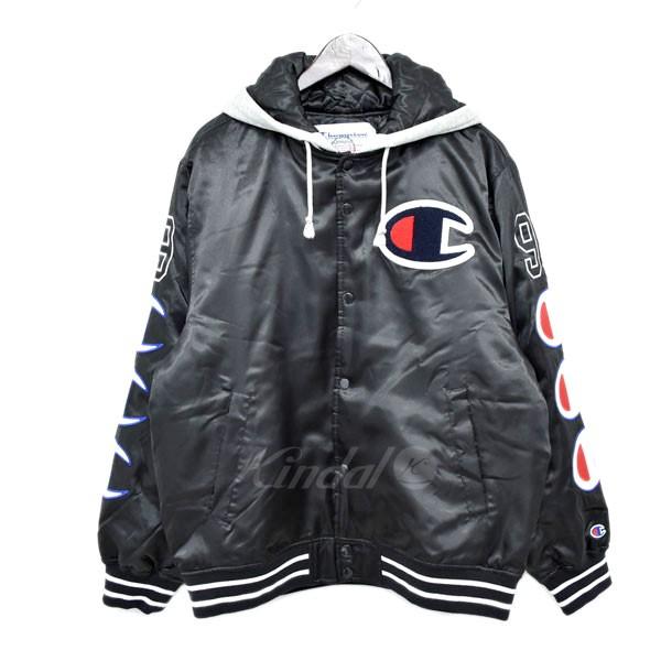 【中古】Supreme×Champion 18AW Hooded Satin Varsity Jacket スタジアムジャケット ブラック サイズ:M 【送料無料】 【110319】(シュプリーム×チャンピオン)