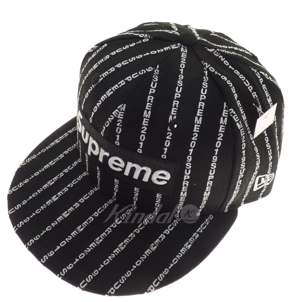 【中古】SUPREME×NEWERA 【2019S/S】Text Stripe New Era ブラック サイズ:7 1/4 【送料無料】 【110319】(シュプリーム×ニューエラ)